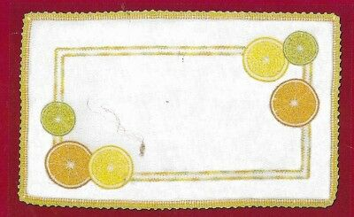 "MODERN ""CITRUS RAPSODY "" 26 X 41CM CENTRE to embroider.Stamped 100% LINEN.SALE!"