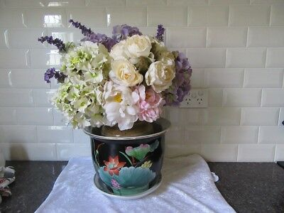 Hand Painted - Jardiniere / Pot Plant  with Matching Saucer.