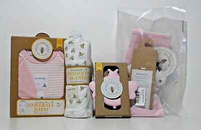 Burts Bees Blanket swaddling, Coverall & Knot Top Hat, Security Blanket, Set 4