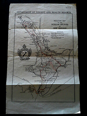 Vintage New Zealand Map Departmentt Of Tourism And Health Resorts