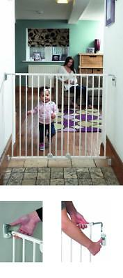 Safety Gate Stair Door Baby Toddler Adjustable Extending Metal Extra Wide White