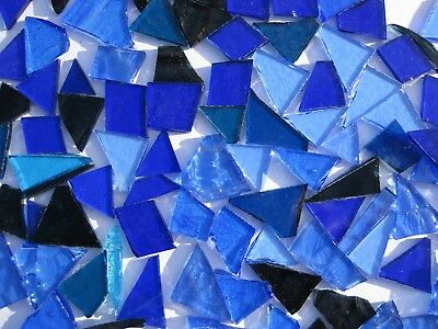 """""""100g - MIXED BLUE"""" Stained Glass for MOSAIC & Glass Crafts"""