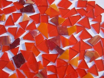 """""""100g - MIXED ORANGE"""" Stained Glass for MOSAIC & Glass Crafts"""