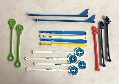 Collection of (15) 1970's Airline cocktail swizzle sticks in excellent condition