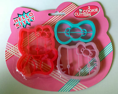 3 HELLO KITTY COOKIE CUTTERS Plastic Bow Cat Face Full HK KIDS BAKING Treat GIFT