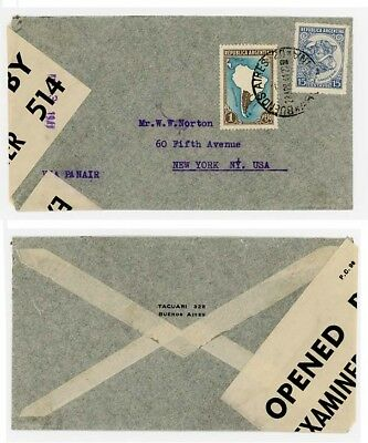 1941 Argentina to USA with Scarce UK Label used in Trinidad