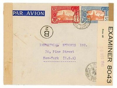 1941 Guadeloupe to USA, Censored in Trinidad and Guadelope, Nice!