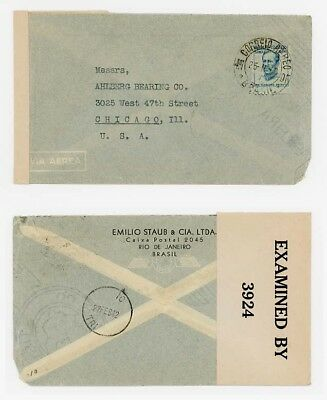 1942 Brazil to USA with Rare Trinidad Combination of Dated IC TRI & No label