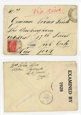 1942 Brazil to USA with Rare Trinidad Combination of Dated IC TRI type 2 &  No L