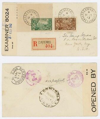 1942 French Guiana Registered Cover to USA, Censored in Trinidad, Nice Route.