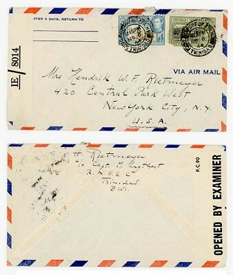 1944 Trinidad to USA from Captain on Royal Netherlands Ship (RNSS), Censored.