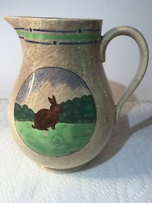 ANTIQUE WEDGEWOOD EUTRURIA 5 3/4 inch creamer, pitcher HAND PAINTED RABBIT.