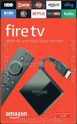 Amazon Fire Tv 4K Ultra Hd Alexa Voice Remote Streaming Media Player Brand New!