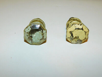 Set of 2 Vintage Glass Painted Drawer Pulls Handles Knobs Dresser Desk Cabinet