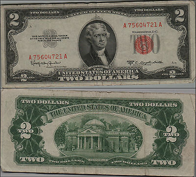 (1)-1953  $ 2 DOLLAR  UNITED  STATES NOTE  RED SEAL $2 Two Dollar Bill  LT Y247
