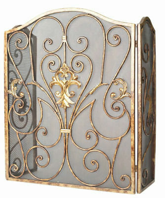 6baeecaef5a Single Panel Iron Fireplace Screen Scrollwork Gold Vintage Fire Spark  Protector