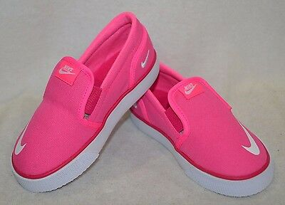 Nike Girl's Toki Slip On Canvas (TDV) Pink/White Shoes - Size 5/6/7/8/9/10C NWB