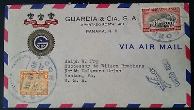 1950 Panama Airmail Cover ties 2 stamps canc Panama R.P. to Easton USA