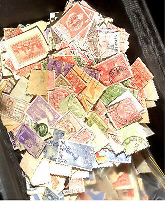 Bulk lot of largely unsorted Pre-Decimal stamps on & off paper (approx 250g)