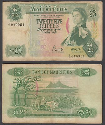 Mauritius 25 Rupees 1967 (F) Condition Banknote P-32 QEII W/STAMP