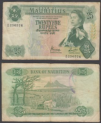 Mauritius 25 Rupees 1967 (F) Condition Banknote P-32 QEII