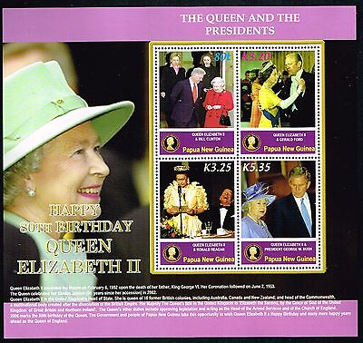 2006 Papua New Guinea QE II 80th Birthday with Presidents Mini Sheet MNH