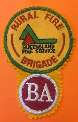 Vintage RARE Rural Fire Brigade BA BREATHING APPARATUS Embroidered Patch Badge
