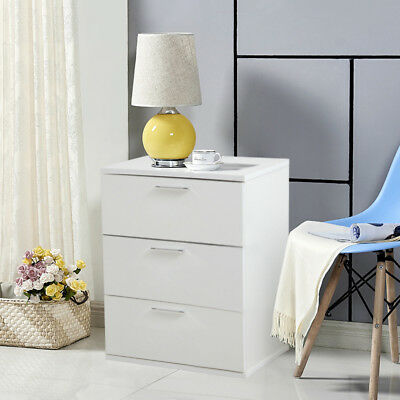 White Wood Bedside Cabinet Storage Side End Lamp Table with 3 Drawers Furniture