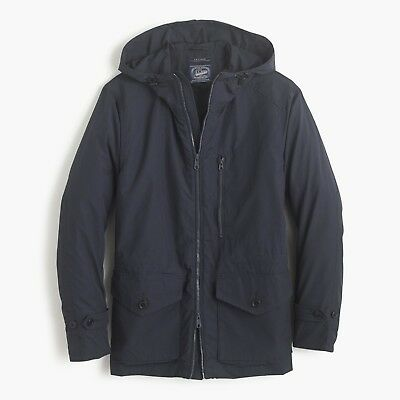 Bnwt Men's J.crew Cotton Nylon X250 Hooded Jacket In Obsidian Size Extra Small