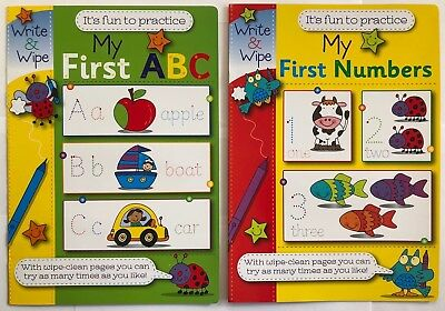 2 x My First ABC Numbers Wipe Clean Activity Book Practice Learning Alphabet UK