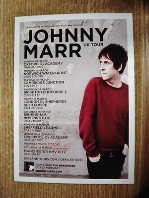 JOHNNY MARR FLYER (postcard size) UK TOUR, MARCH 2013