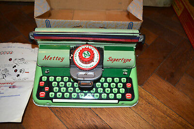 Mettoy vintage Supertype child's typewriter tinplate boxed with instructions