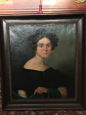 Early 19thC Antique VICTORIAN Era LADY Primitive PORTRAIT Oil PAINTING Old FRAME