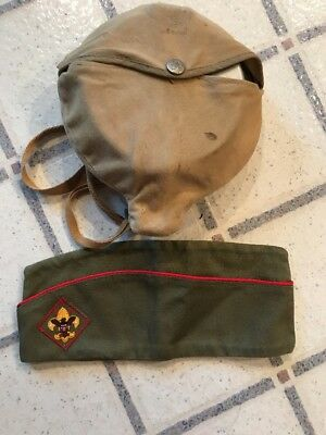Vintage Lot/2  Boy Scouts Green Hat And Aluminum Cook Set W Cover