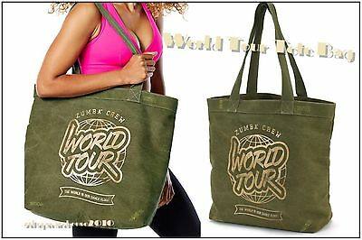 "Zumba World Tour Army Green Denim Gold 19""Wx16""Hx7""D TOTE BAG-DURABLE +Free Gift"