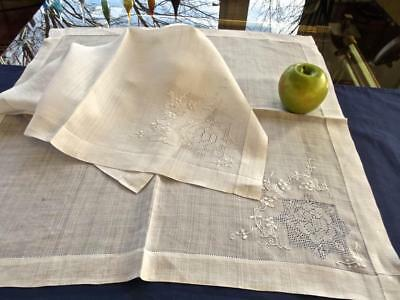 """2 Antique Chinese Rice Linen 22"""" Hemstitched Napkins Hand Embroidery Lace Rose"""