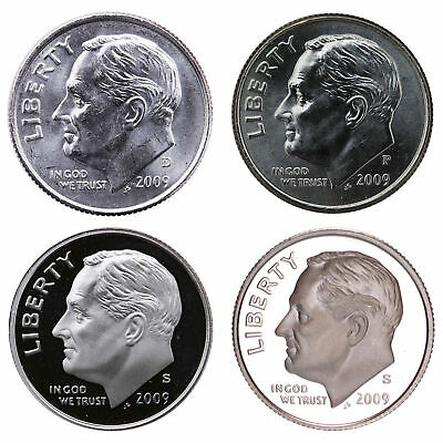 2009 P+D+S+S Roosevelt Dime Set ~ Uncirculated Coins from Bank Roll / Proof sets
