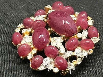 Stunning Vintage Estate Find Brooch Lavender Color Stones  A9