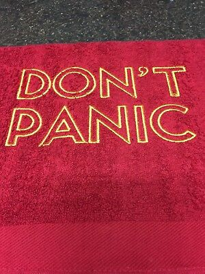 Don't Panic towel / Hitchhiker's Guide to the Galaxy towel. HHGTTG