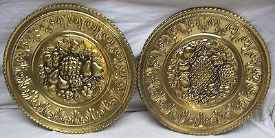 Vintage Pair Of Brass Raised Relief Round Fruit Plaques