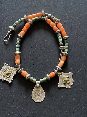 Moroccan Antique Tuareg  Berber Tribal  Bedouin Coral & Turquoise necklace.