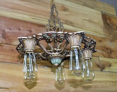 "Antique 5 Light Art Deco Chandelier Original Finish & Sockets 16"" Diameter"