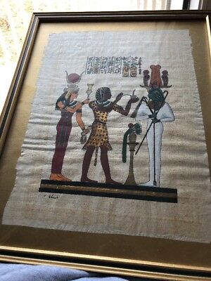 Egyptian Hand-painted Papyrus Egypt Themed Cloth Framed Art