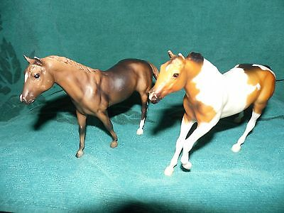 "2 Miniature Breyer/Reeves Horses Quarter Horse Brown and Paint  4"" tall"