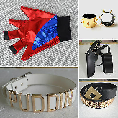 Suicide Squad Harley Quinn Cosplay Costume Joker Prop Belt Glove Accessory