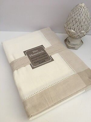 Elite Hemstitch Tablecloth 60 118 Table Cloth Off White Ivory Linen Beige Cotton
