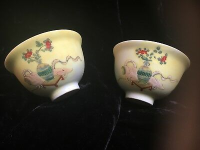 2 antique Chinese yellow porcelain Rice bowl hand painted orange blossoms signed