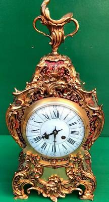 S.MARTI ANTIQUE FRENCH 8 DAY ROCOCO RED BOULLE CLOCK 45cm