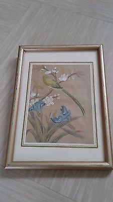 small vintage Chinese painting on silk signed