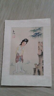 small vintage Chinese painting on silk